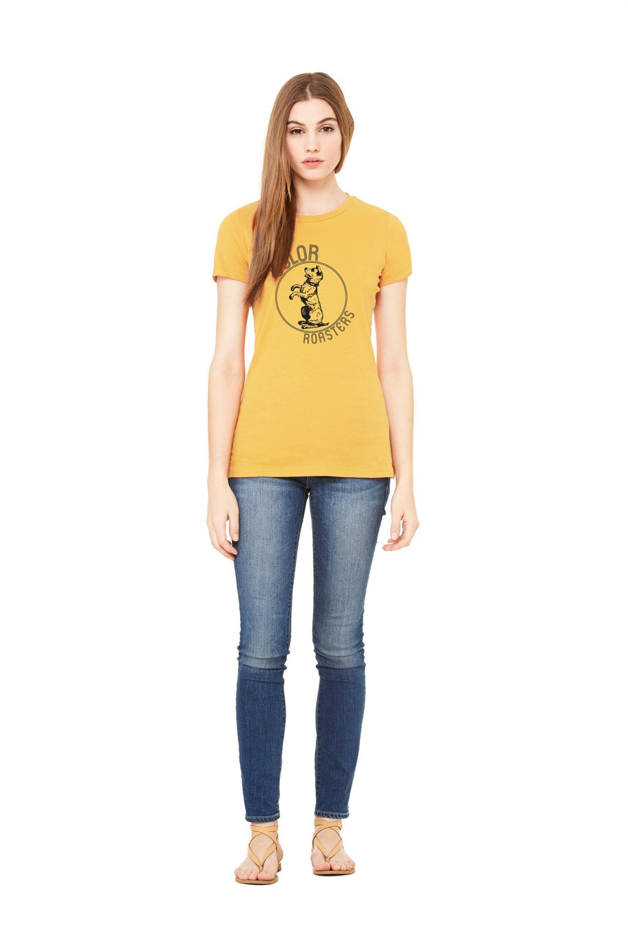 women model in Color Roasters, Jack Garland designed woman's tee