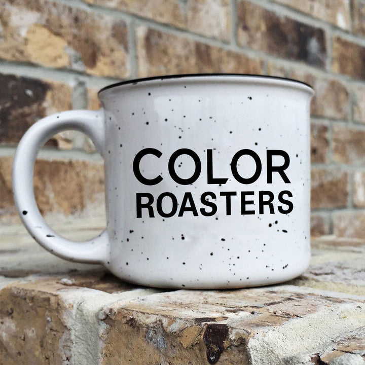 Color Roasters Ceramic Black and white speckled camp mug
