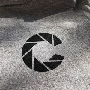 Color Coffee silver grey champion hoodie close up of Color logo