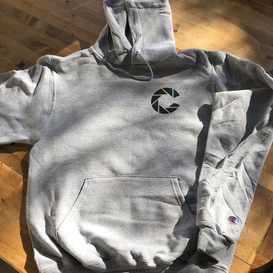 Color Coffee silver grey champion hoodie with Color logo