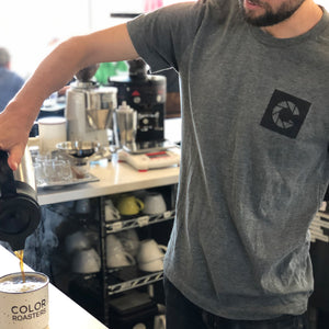 Color Coffee Apparel Grey tee shirt with corporate C logo