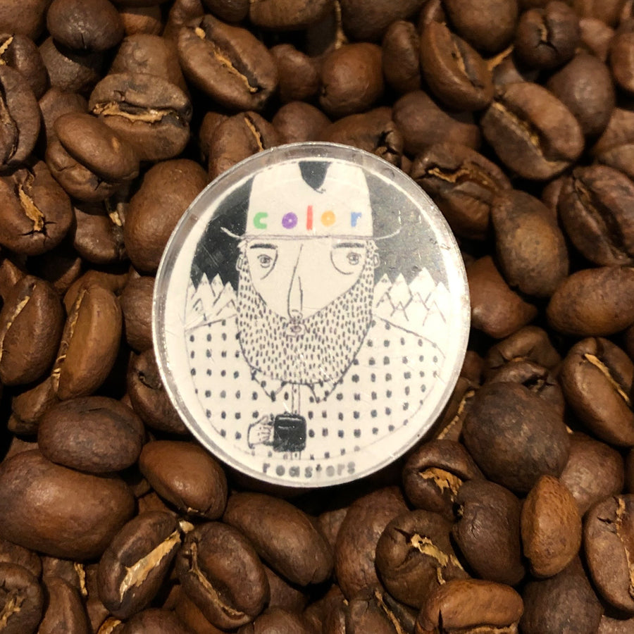 color coffee illustrated pin front