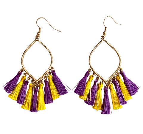 LSU Tassel Earrings