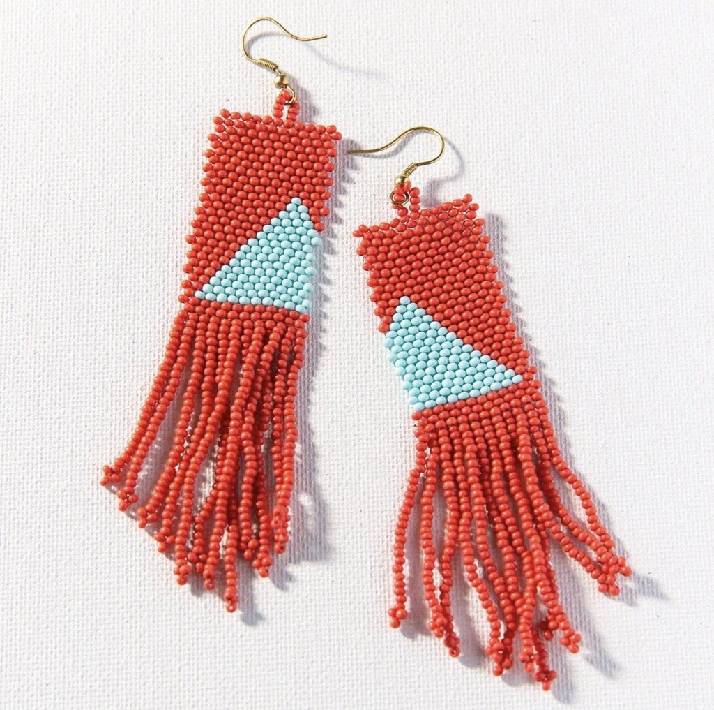 Coral With Light Blue Triangle Seed Bead Earring