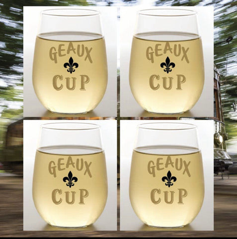 Geaux Cups - Black & Gold shatterproof wine glasses