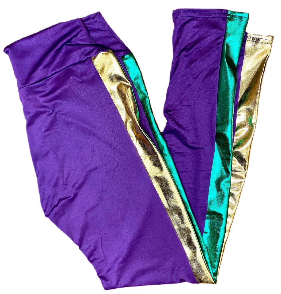 Mardi Gras Metallic Striped Leggings