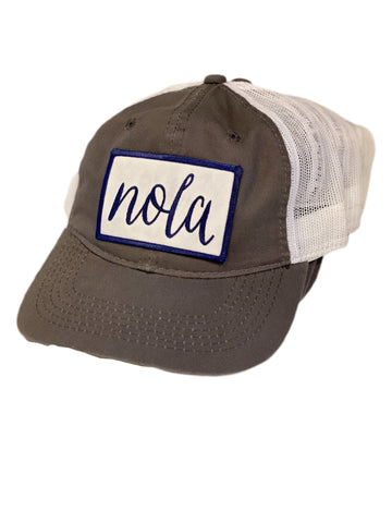 Grey NOLA trucker hat