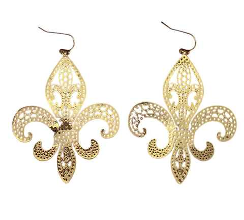 Gold Fleur de Lis Earrings