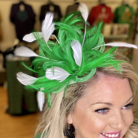 Green & White Light Up Feather Headband