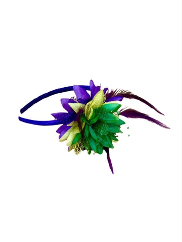 Mardi Gras flower lace headbnd