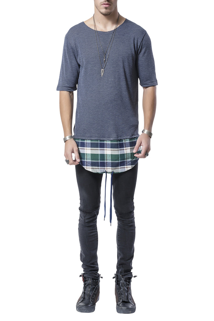 Layered Plaid Blue Tee