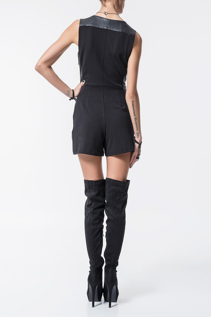 Playsuit With Faux Leather Detail