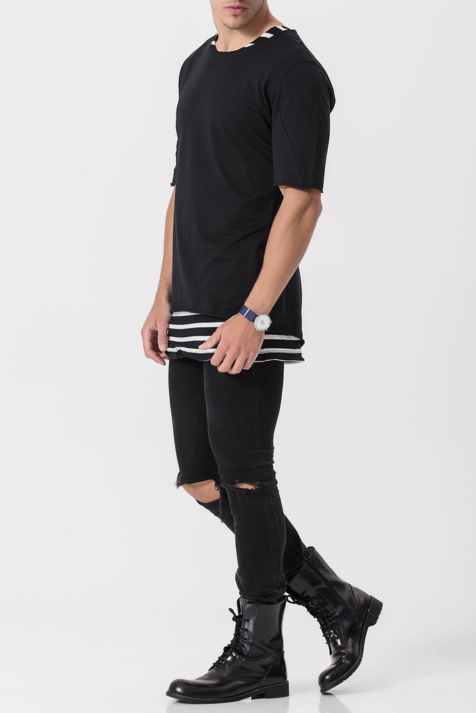 Black On Stripe Drawstring Tee