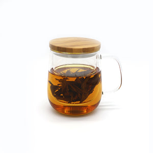 Hand-Blown Glass Tea Mug with Infuser and Bamboo Lid