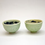 Double Fired Celadon and Blue Pair of Teacups, 'Dragons and Landscape'