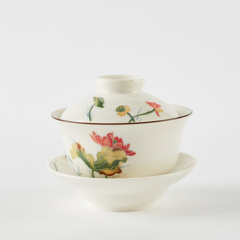Hand Painted Lotus Gaiwan
