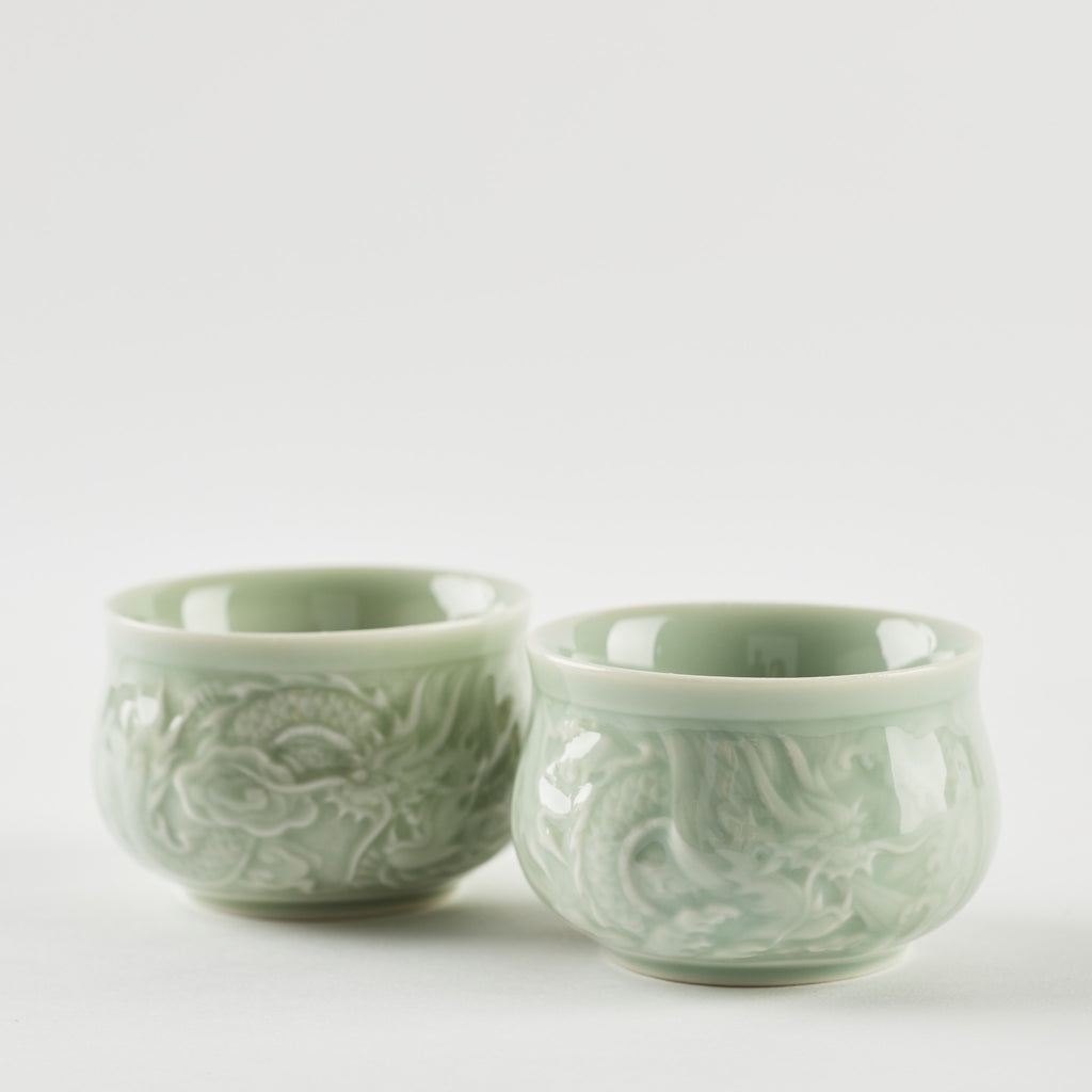Carved Dragon Tea Cups