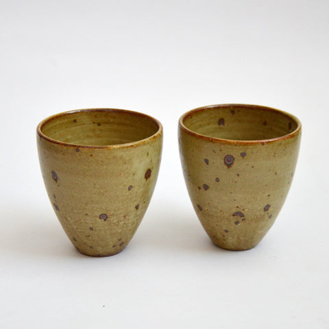 Matte Glazed Kohiki Teacups Tall Pair Speckled