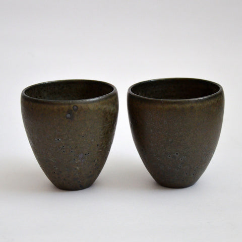 River Stone Glaze Teacups Tall Pair