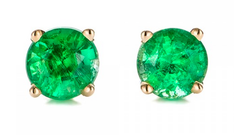 Emerald Earrings set Round cut 18 carat gold