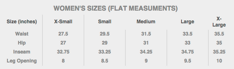 Women's sizes (Flat Measurements)