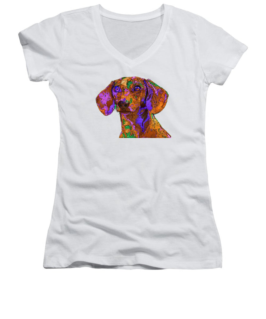Women's V-Neck T-Shirt (Junior Cut) - Chloe. Pet Series