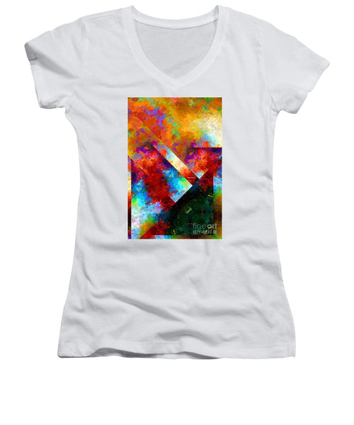 Women's V-Neck T-Shirt (Junior Cut) - Abstract 568