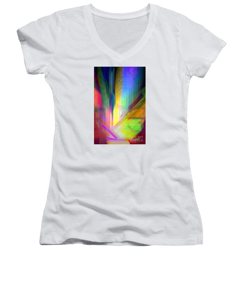 Women's V-Neck T-Shirt (Junior Cut) - Abstract 9590