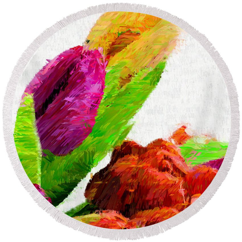 Round Beach Towel - Abstract Flower 0722