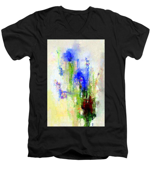 Men's V-Neck T-Shirt - Abstract Flower 0797