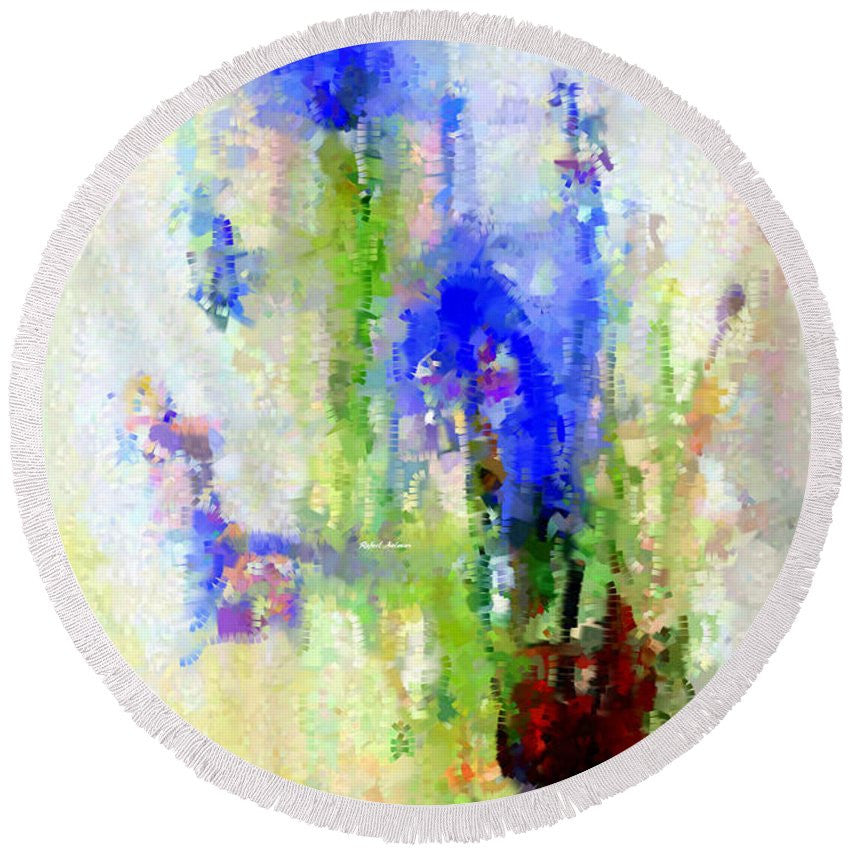 Round Beach Towel - Abstract Flower 0797