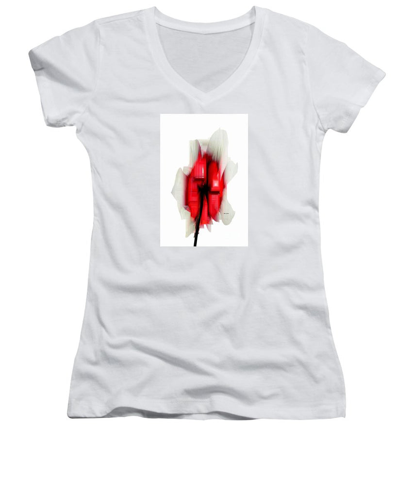 Women's V-Neck T-Shirt (Junior Cut) - Abstract Flower