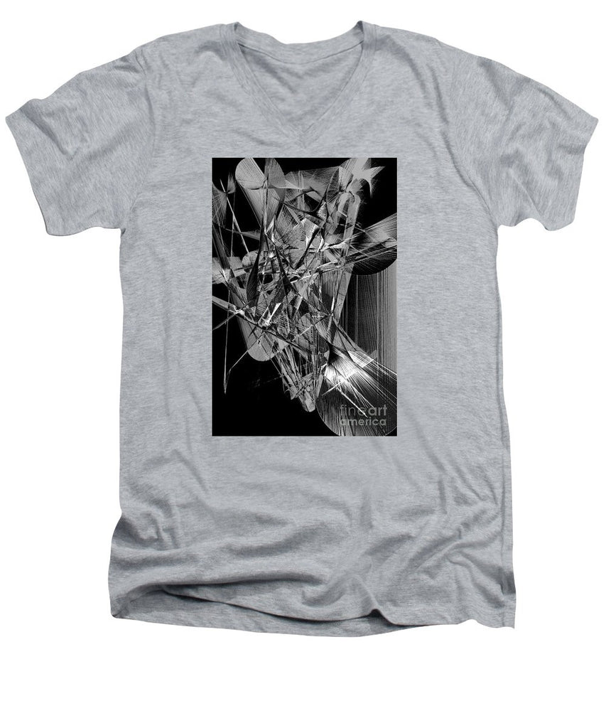 Men's V-Neck T-Shirt - Abstract In Black And White 2