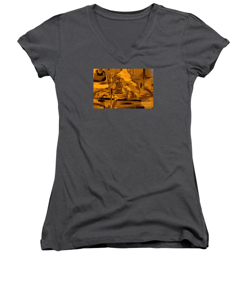 Women's V-Neck T-Shirt (Junior Cut) - Abstract In Sepia