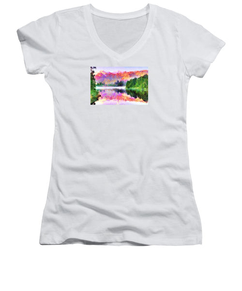 Women's V-Neck T-Shirt (Junior Cut) - Abstract Landscape 0743