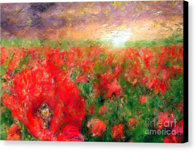 Canvas Print - Abstract Landscape Of Red Poppies