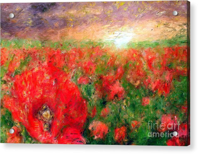 Acrylic Print - Abstract Landscape Of Red Poppies