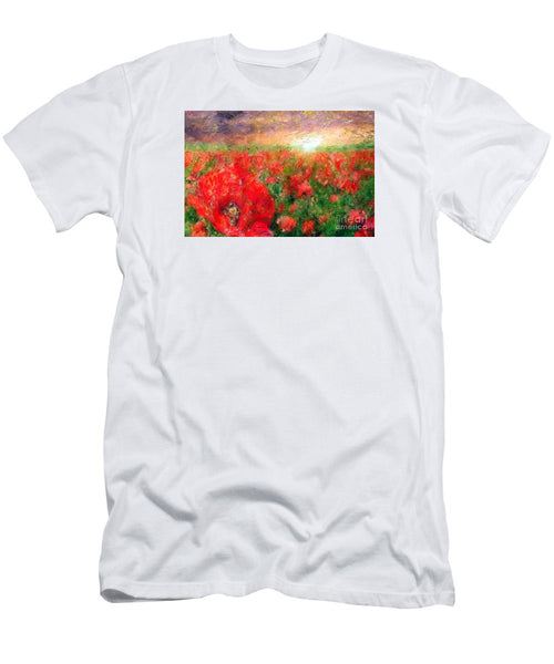 Men's T-Shirt (Slim Fit) - Abstract Landscape Of Red Poppies