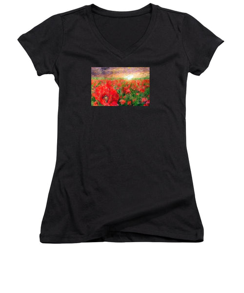 Women's V-Neck T-Shirt (Junior Cut) - Abstract Landscape Of Red Poppies