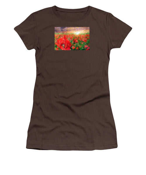 Women's T-Shirt (Junior Cut) - Abstract Landscape Of Red Poppies