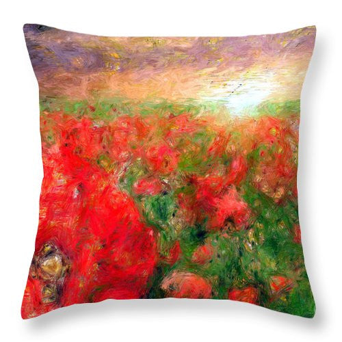 Throw Pillow - Abstract Landscape Of Red Poppies