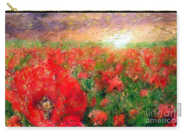 Carry-All Pouch - Abstract Landscape Of Red Poppies