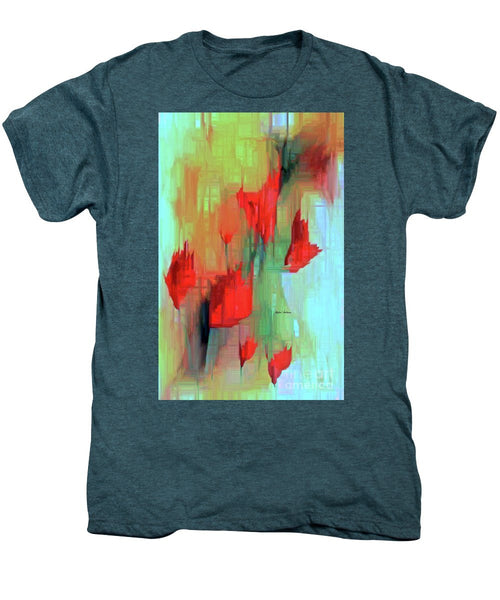 Men's Premium T-Shirt - Abstract Red Flowers