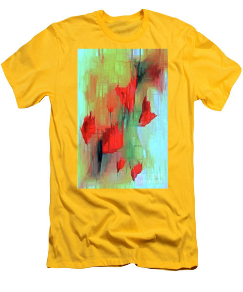 Men's T-Shirt (Slim Fit) - Abstract Red Flowers