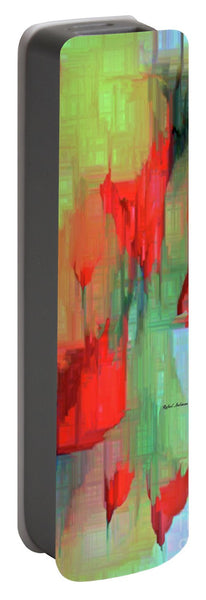 Portable Battery Charger - Abstract Red Flowers