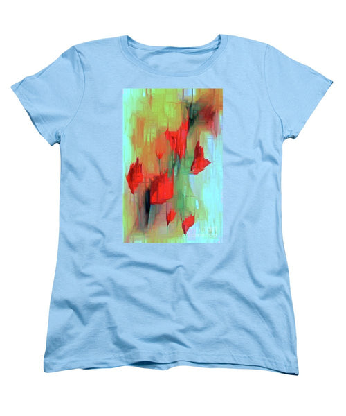 Women's T-Shirt (Standard Cut) - Abstract Red Flowers