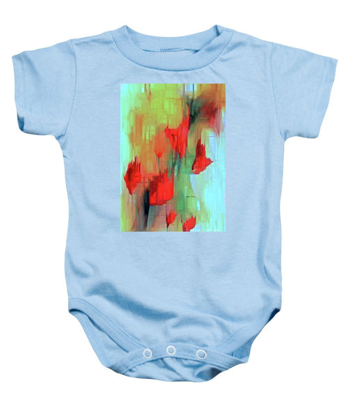Baby Onesie - Abstract Red Flowers