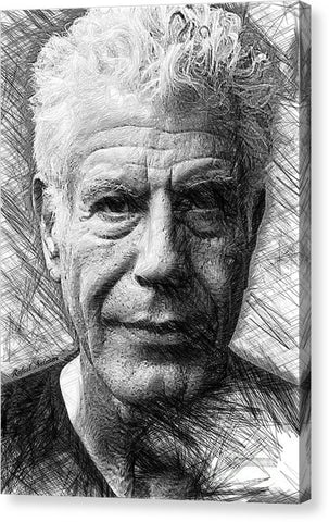 Anthony Bourdain - Ink Drawing - Canvas Print