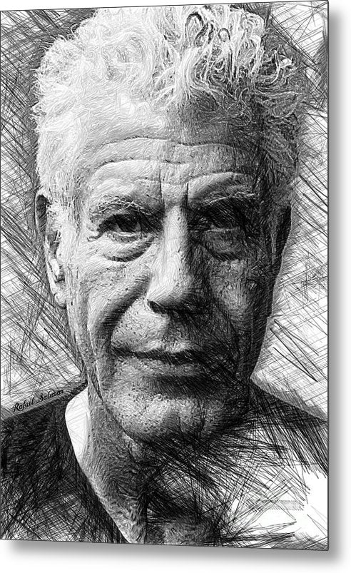 Anthony Bourdain - Ink Drawing - Metal Print