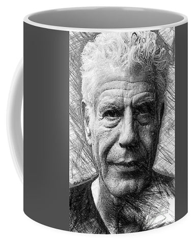 Anthony Bourdain - Ink Drawing - Mug